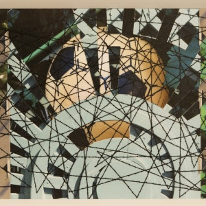 KICK IT, Photo collage Phyllis Odessey/ Sewn over by Sheila Odessey (11 ½ x 4 inches)