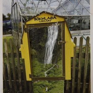 Library Box Waterfall, photo collage Phyllis Odessey/ sewing Sheila Odessey (4 x 5 inches)